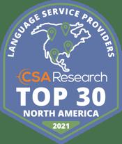 CSA Research Top 30 in North America badge