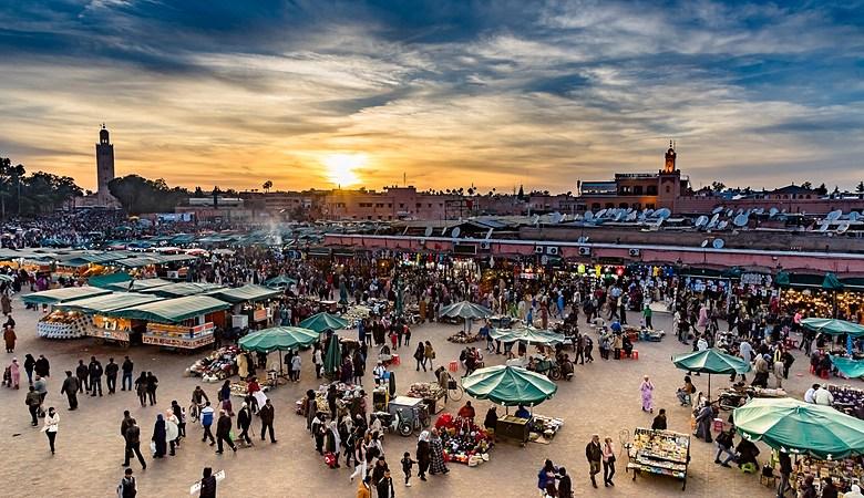 Market place in Marrakesh's medina quarter