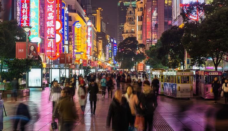 Night view of Nanjing Road in Shanghai