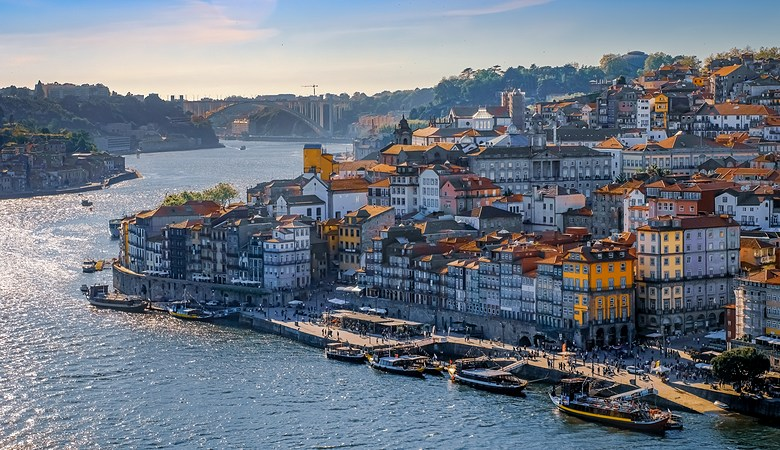 View of the city of Porto, Portugal, in spring