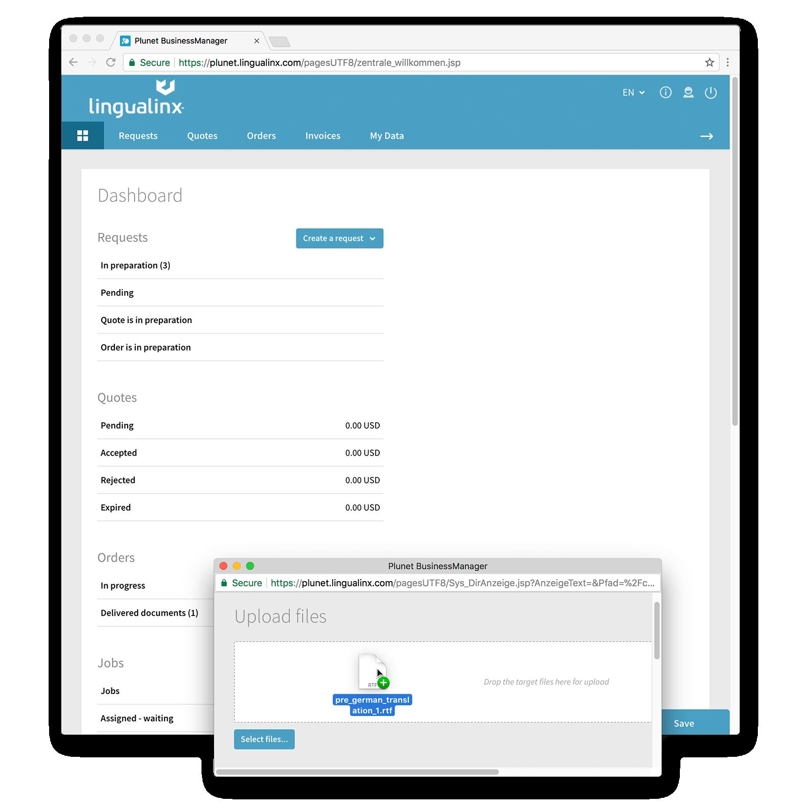 lingualinx portal screenshot